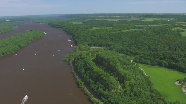 WS AERIAL POV View of Horseshoe Bluff with Mississippi River / Dubuque County, Iowa, United States