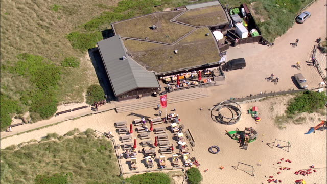 ms aerial view of hotel on seashore / sylt, schleswig-holstein, germany - sylt stock videos & royalty-free footage