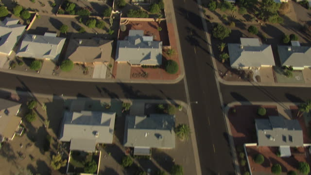 WS AERIAL DS View of houses and backyards at Sun City / Phoenix, Arizona, United States