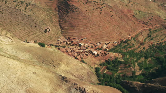 view of houses and terrace fields in the mountainous region of north morocco, africa - valley stock videos & royalty-free footage