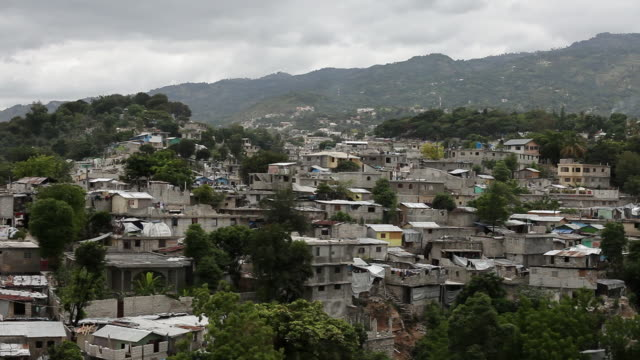 ws view of houses in neighborhood in hills / port-au-prince, haiti - port au prince stock videos & royalty-free footage