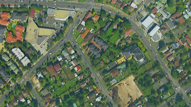MS AERIAL View of houses in township / Sydney, New South Wales, Australia