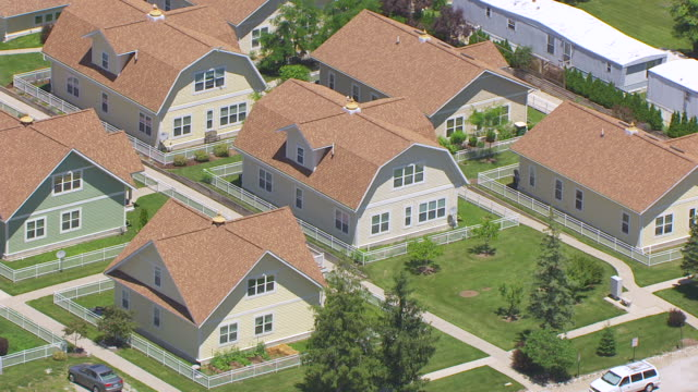 WS AERIAL POV View of houses / Maharishi Vedic City, Iowa, United States
