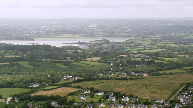 WS AERIAL View of houses on landscape / Brittany, France