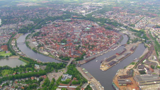 ws aerial view of houses, road way at lubeck / germany - lübeck stock-videos und b-roll-filmmaterial