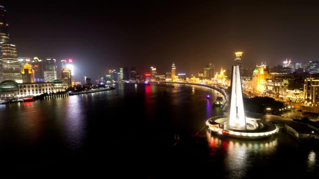 T/L WS HA View of Huangpu River at Night / Shanghai,China
