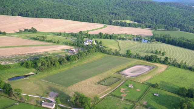 ws aerial pov view of hudson valley farmlands / hudson valley, new york state, united states - hudson valley stock videos and b-roll footage