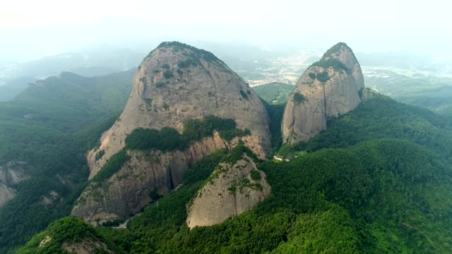 view of huge boulders in woods, maisan provincial park, jinan-gun - boulder rock stock videos & royalty-free footage