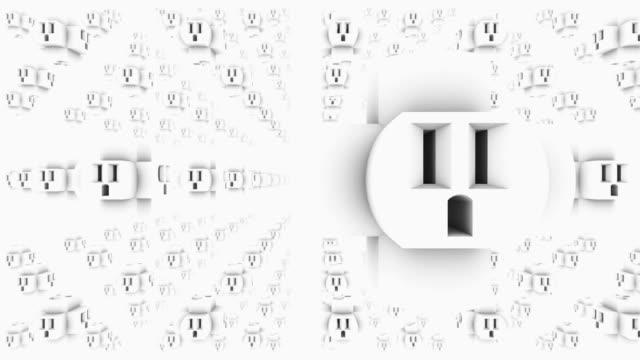 cgi cu zi zo pan b/w view of huge wall feature with numerous amount of outlets / new york city, new york, usa - plug socket stock videos and b-roll footage