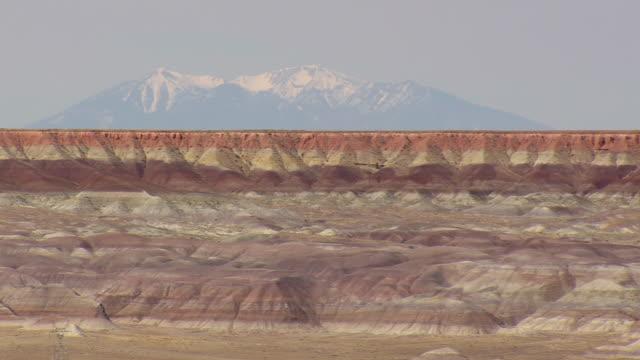 WS AERIAL View of Humphrey's Peak above little painted Desert / Arizona, United States