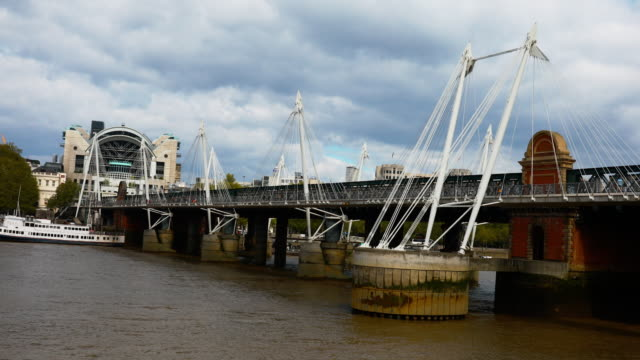 view of hungerford bridge, in london, united kingdom, on may 5, 2019 - hungerford bridge stock videos & royalty-free footage