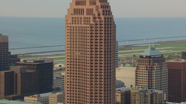WS TD AERIAL View of Huntington Bank Building in downtown / Cleveland, Ohio, United States