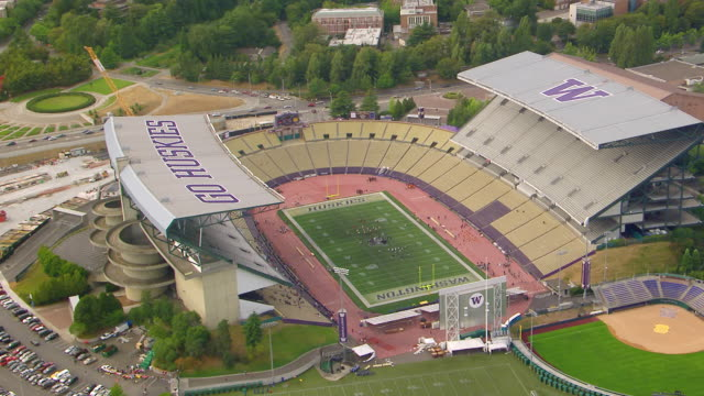 ws aerial view of husky stadium / seattle, washington, united states - ncaa college football stock videos and b-roll footage