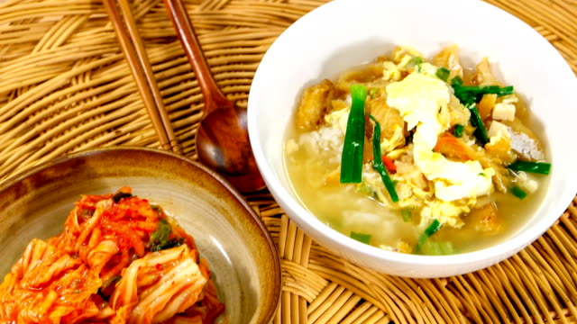 view of hwangtaeguk (dried pollack soup) also known as haejangguk (soup eaten as a hangover cure in korean cuisine) - pollock fish stock videos & royalty-free footage