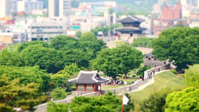 ws t/l view of hwaseomun and seobukgongsimdon in suwon hwaseong castle (unesco heritage) / suwon, gyeonggi-do, south korea  - hwaseong palace stock videos and b-roll footage