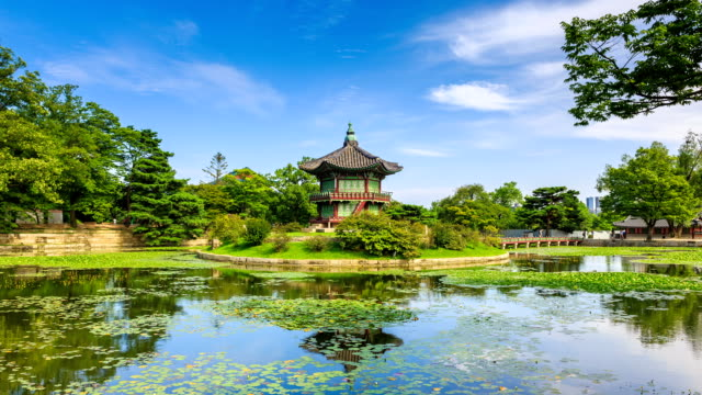 view of hyangwonjeong(gazebo) and water garden in gyeongbokgung(ancient palace) - gazebo stock videos and b-roll footage