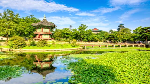 stockvideo's en b-roll-footage met view of hyangwonjeong(gazebo) and water garden in gyeongbokgung(ancient palace) - gazebo