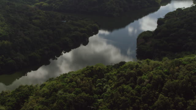 WS AERIAL POV View of hydroelectric plant at Lago Dos Bocas / Arecibo, Puerto Rico, United States