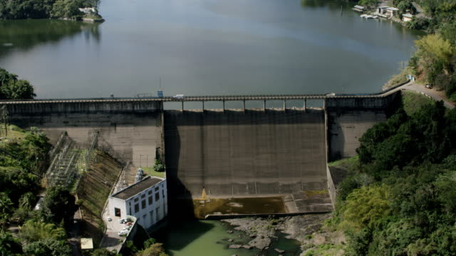 WS AERIAL POV View of hydroelectric plant, Lago Dos Bocas in background / Arecibo, Puerto Rico, United States