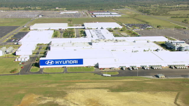ws aerial view of hyundai plant in montgomery county / alabama, united states - short phrase stock videos & royalty-free footage