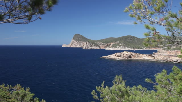 ws view of ibiza west coast at cap nono / ibiza, balearic islands, spain  - balearic islands stock videos and b-roll footage
