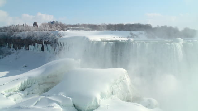 ws pan view of ice and partly frozen falls on us side of horse shoe falls / niagara falls, ontario, canada - ナイアガラ滝点の映像素材/bロール