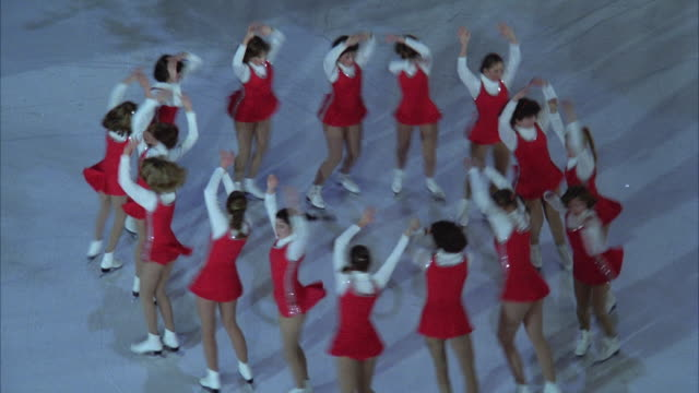 ws zo view of ice skaters during christmas time at rockefeller center / new york city, new york, usa - 1980 stock videos & royalty-free footage