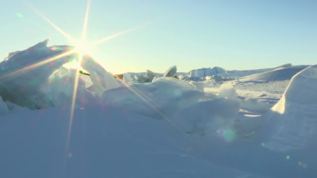 WS T/L View of icefield with sunrise / Dumont D'Urville Station, Adelie Land, Antarctica