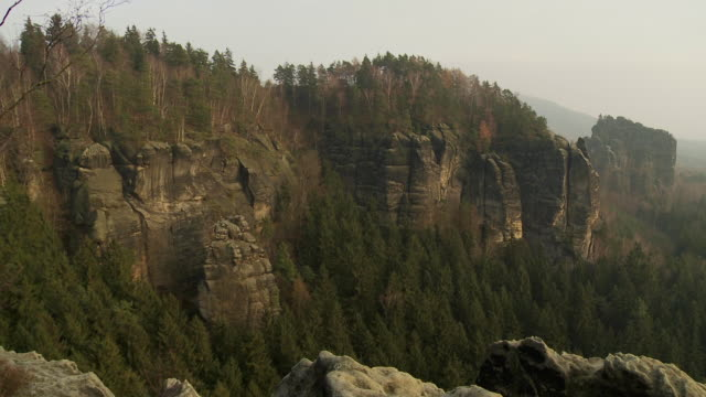 ws pan view of  idyllic landscape of elbe sandstone highlands / near dresden, saxony, germany  - sandstone stock videos and b-roll footage