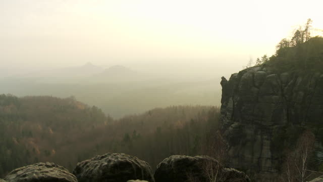 ws pan view of  idyllic landscape of elbe sandstone highlands / near dresden, saxony, germany  - sandstone stock videos & royalty-free footage