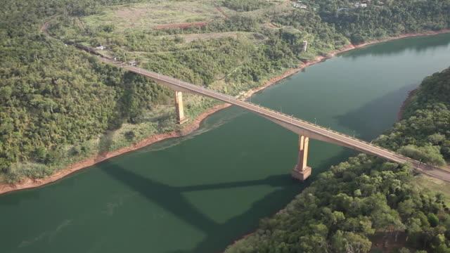 WS AERIAL View of Iguacu River / Foz do Iguacu, Parana, Brazil