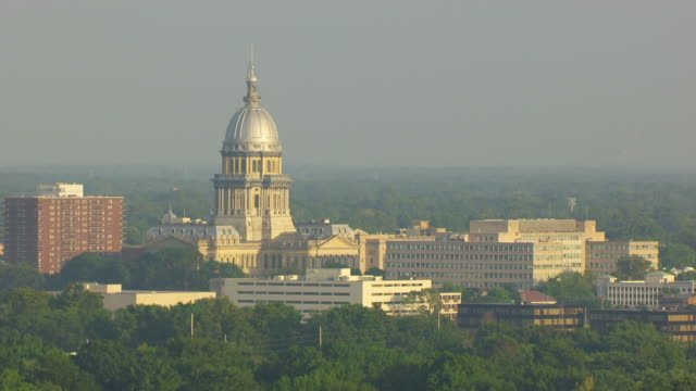 WS AERIAL POV View of Illinois State Capitol building / Springfield, Illinois, United States