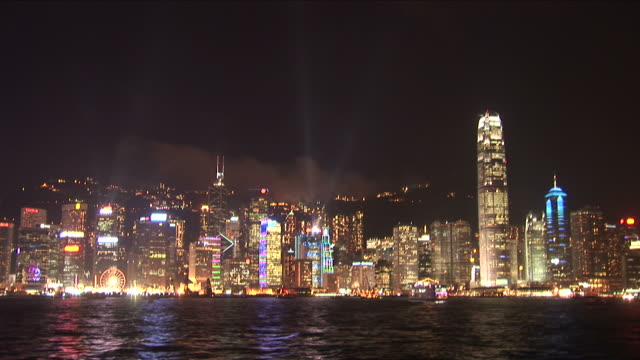 View of illuminating city at night Hong Kong China