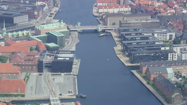 ws aerial zi view of inderhavn (inner harbor) and ministry buildings / copenhagen, denmark - oresund region stock videos & royalty-free footage