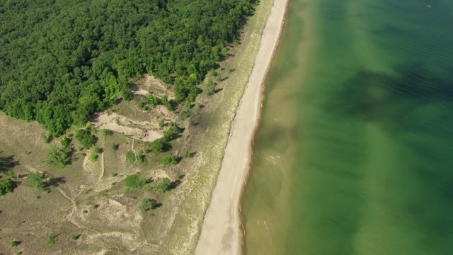 WS AERIAL POV View of Indiana Dunes National Lakeshore / Porter County, Indiana, United States