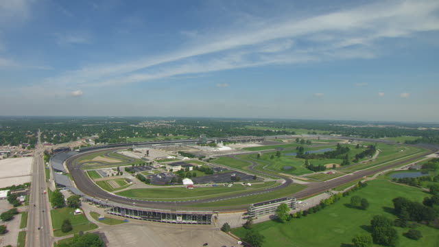 WS AERIAL POV View of Indianapolis Motor Speedway / Speedway, Marion County, Indiana, United States