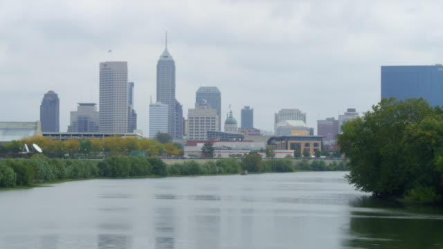 WS View of Indianapolis skyline and Ohio River / Indianapolis, Indiana, United States