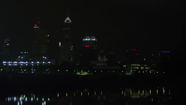 WS View of Indianapolis skyline at night / Indianapolis, Indiana, United States