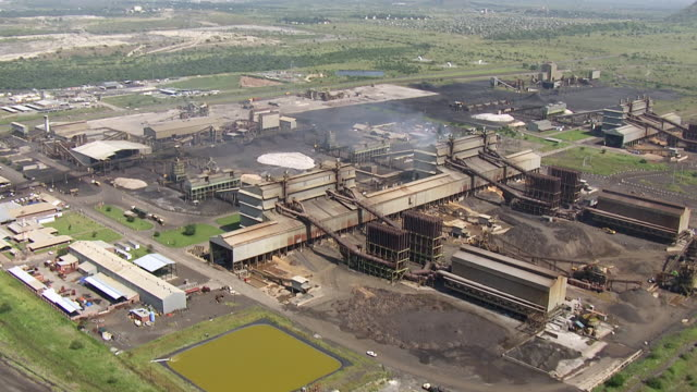 ws aerial ds view of industrial area / south africa - industrial district stock videos & royalty-free footage