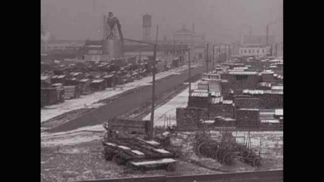 WS PAN View of industrial district during winter / United States