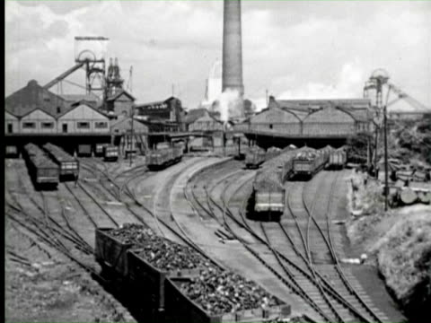b/w view of industry trains, england / audio - anno 1951 video stock e b–roll