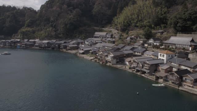 view of ine no funaya(floating home in ine) in kyoto city, japan - village点の映像素材/bロール