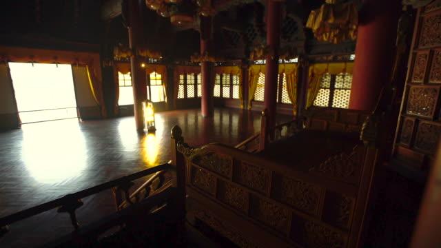 view of injeongjeon palace (korea national treasure 225) in changdeok palace (unesco world heritage site in seoul) at day - throne stock videos & royalty-free footage