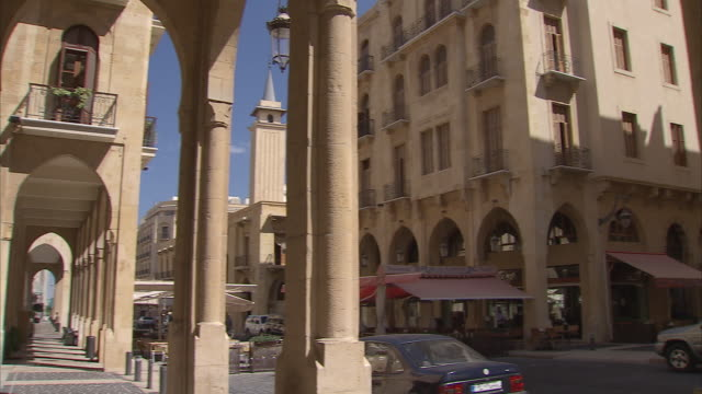 ms pan view of inner city street / beirut, lebanon - beirut stock videos & royalty-free footage