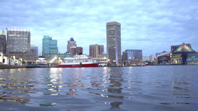 view of inner harbor area in downtown baltimore maryland usa - maryland us state stock videos & royalty-free footage