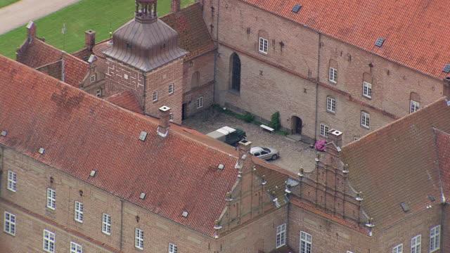 WS AERIAL ZI ZO View of inner of Holckenhavn Slot area / Fyn, Denmark
