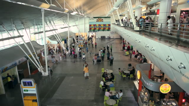 WS HA View of interior of NAT airport with many people moving throughout / Natal, Rio Grande Do Norte, Brazil
