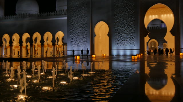 view of interior sheikh zayed grand mosque at night, abu dhabi, united arab emirates, middle east, asia - grand mosque stock videos and b-roll footage