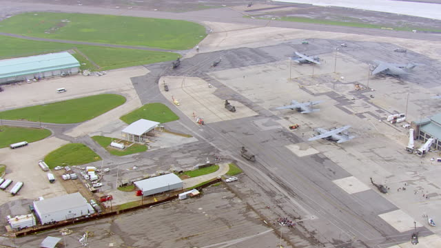 View of international airport and terminal triage area / United States