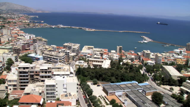 ws aerial view of island chios capital city with city's harbour / chios, north aegean islands, greece - athens greece stock videos & royalty-free footage